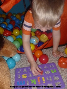 Alphabet Hunt in the Ball Pit from Suzy Homeschooler (2)