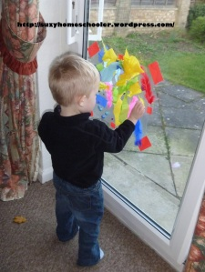 Contact Paper Sticky Window Catcher from Suzy Homeschooler