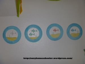 Dr Seuss Party from Suzy Homeschooler - child made 1fish2fish decor