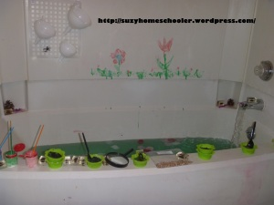 Garden Themed Bath from Suzy Homeschooler (1)