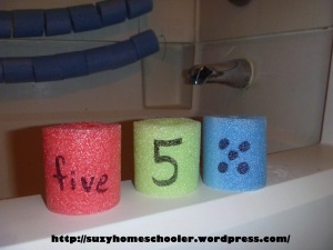 Giant Abacus and Pool Noodle Math in the Bath Tub from Suzy Homeschooler (3)