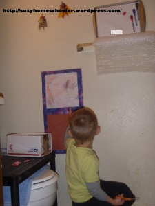 Kids Art Studio (converted bathroom) from Suzy Homeschooler