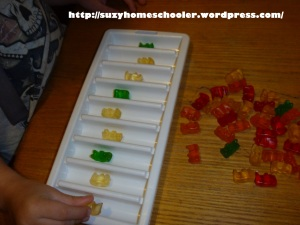 Patterning with Gummy Bears from Suzy Homeschooler (3)