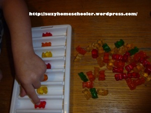 Patterning with Gummy Bears from Suzy Homeschooler (4)