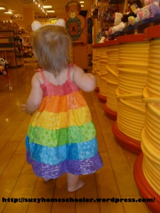 Pecan Sandies Rainbow Patchwork Dress knock-off from Suzy Homeschooler