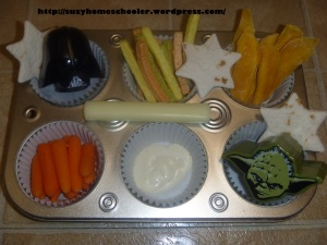 Starwars Muffin Tin Snack from Suzy Homeschooler