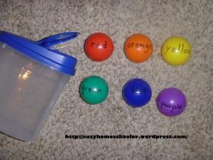 Rainbow Ball Drop from Suzy Homeschooler
