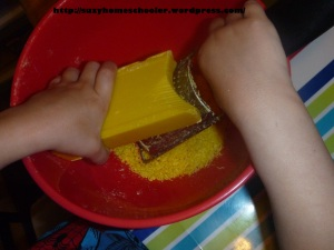 Montessori Inspired Soap Grating from Suzy Homeschooler