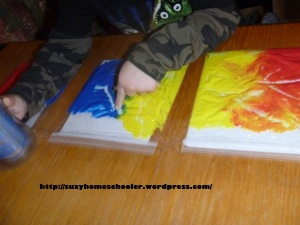 Mess Free Finger Painting and Coloring Mixing from Suzy Homeschooler