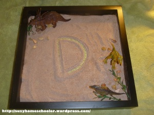 Dinosaur Sensory Writing Tray from Suzy Homeschooler (3)