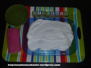 Simple Shaving Cream Writing Tray from Suzy Homeschooler (1)