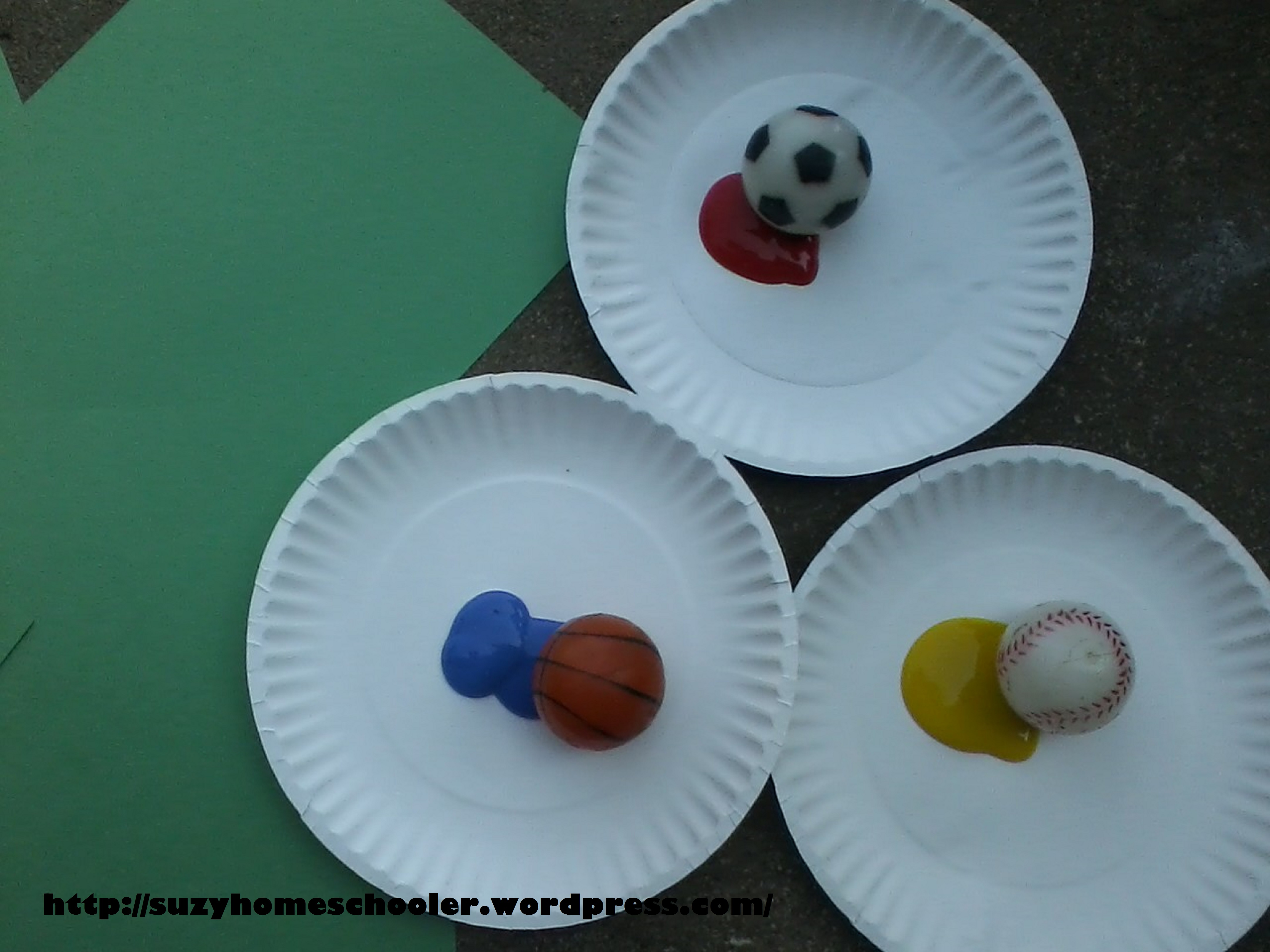 Wrapping up sports theme week and ball bounce painting for Football crafts for preschoolers