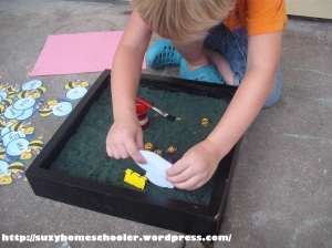 Bee Themed Salt Tray in Action from Suzy Homeschooler (6)