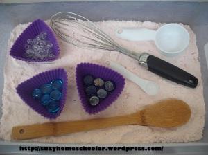 Cake Mix Sensory Bin from Suzy Homeschooler (1)