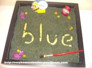 This is such a cute sight words activity where the bee says a word on it and you spell out the word in the black salt using a paint brush.