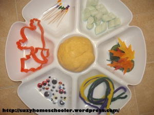 Halloween Themed Invitation to Play with Pumpkin Playdough, Suzy Homeschooler (1)