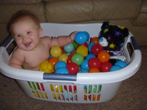 make-shift ball pit
